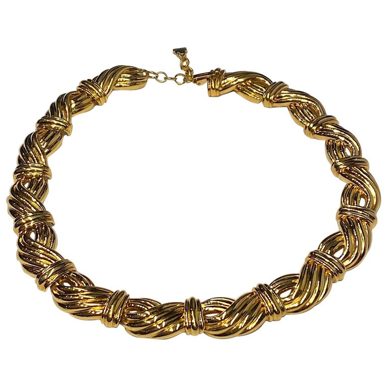 Lanvin 1980s Gold Link Necklace  For Sale