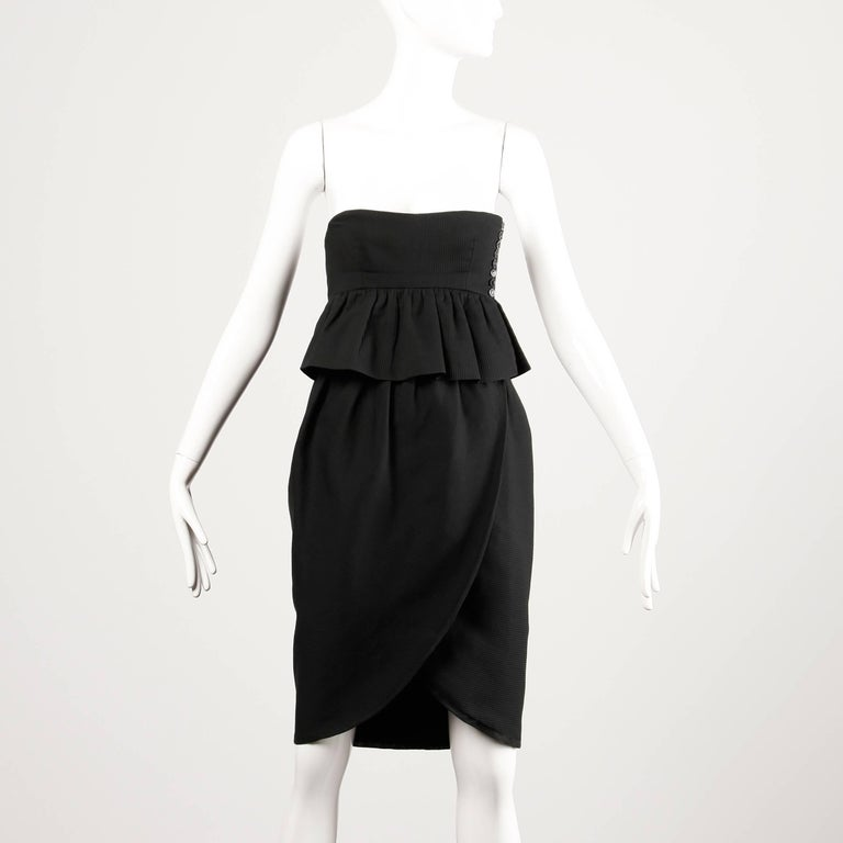 Lanvin 1980s Vintage Strapless Little Black Dress with Peplum In Excellent Condition For Sale In Sparks, NV