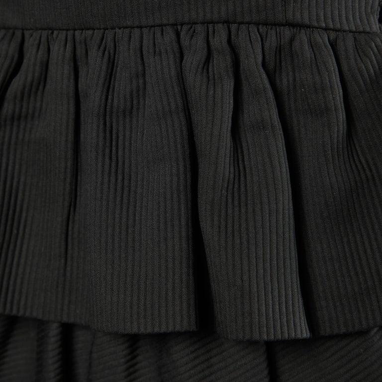 Lanvin 1980s Vintage Strapless Little Black Dress with Peplum For Sale 2