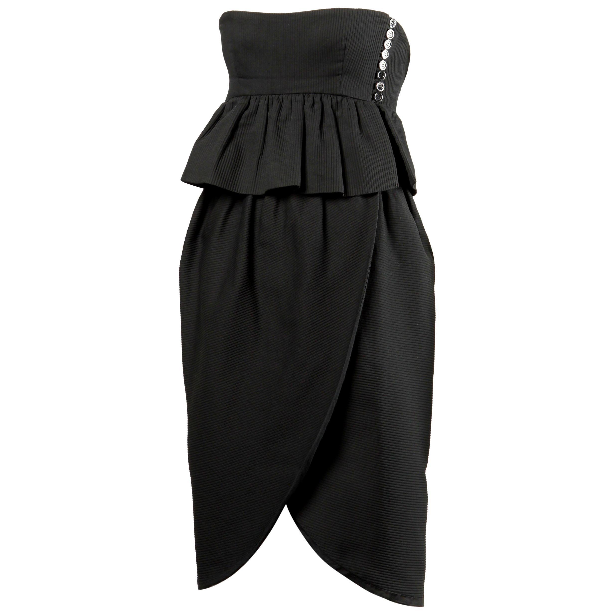 Lanvin 1980s Vintage Strapless Little Black Dress with Peplum