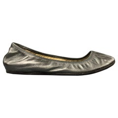 LANVIN 2007 Size 7.5 Silver Leather Ballet Flats