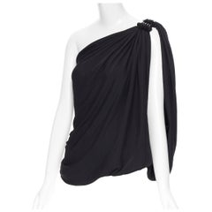 LANVIN 2008 black polyester metal ring embellished one shoulder draped top Fr36