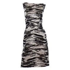 Lanvin 2013 Alber Elbaz Sleeveless Gray & Black Metallic Animal Print Dress