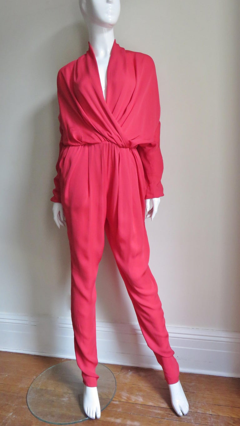 Red Lanvin 2014 Draped Silk Jumpsuit   For Sale