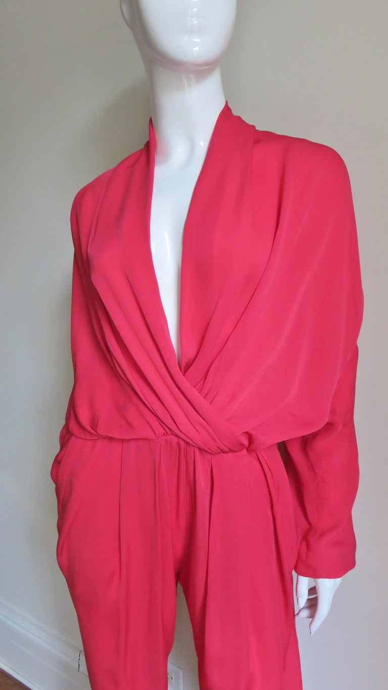 Lanvin 2014 Draped Silk Jumpsuit   In Excellent Condition For Sale In New York, NY