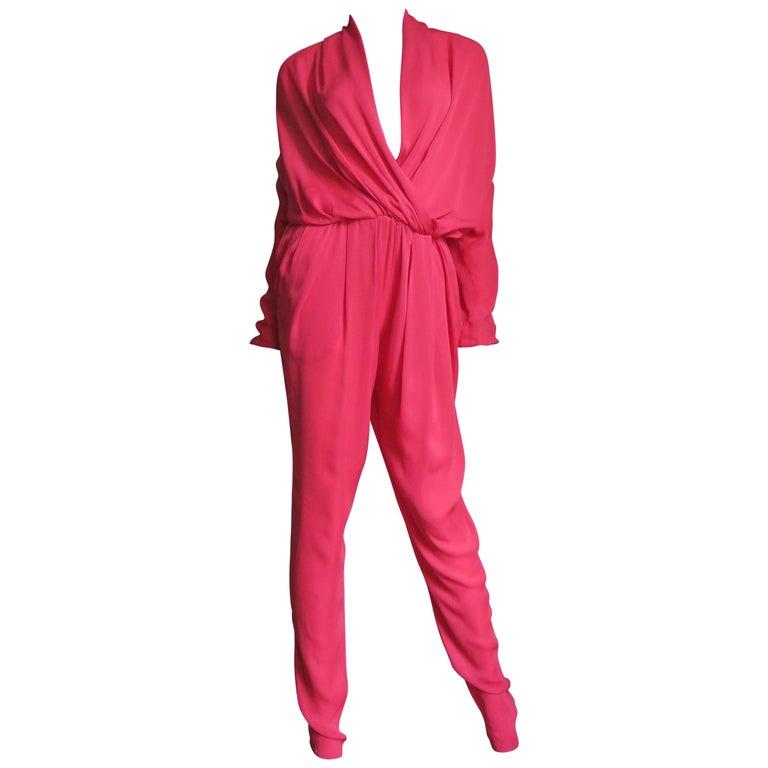 Lanvin 2014 Draped Silk Jumpsuit   For Sale