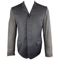 LANVIN 40 Navy Striped Wool Notch Lapel Sheer Back & Sleeves Jacket