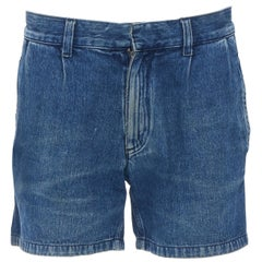 LANVIN ACNE blue whisker washed denim micro denim short shorts 28""