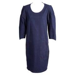 Lanvin & Acne Dark Blue Denim Dress with Gathered Sleeve Detail Zippered Pockets