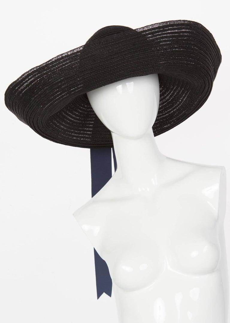 Women's 2006 Lanvin Alber Elbaz Black Sun Hat Navy Ribbon Band For Sale