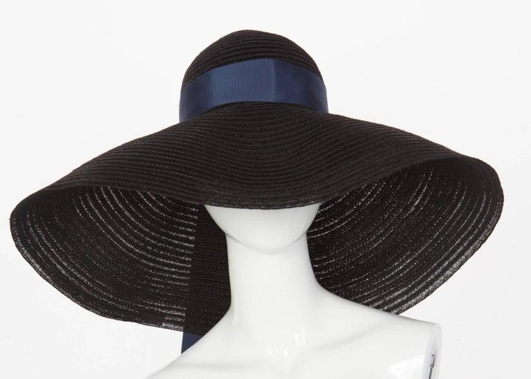 2006 Lanvin Alber Elbaz Black Sun Hat Navy Ribbon Band For Sale 2