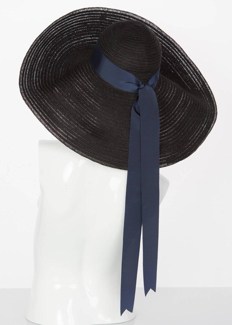 2006 Lanvin Alber Elbaz Black Sun Hat Navy Ribbon Band For Sale 3
