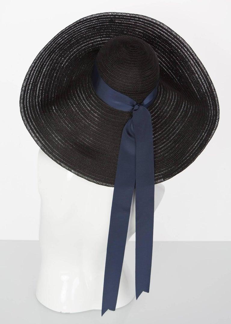 2006 Lanvin Alber Elbaz Black Sun Hat Navy Ribbon Band For Sale 4