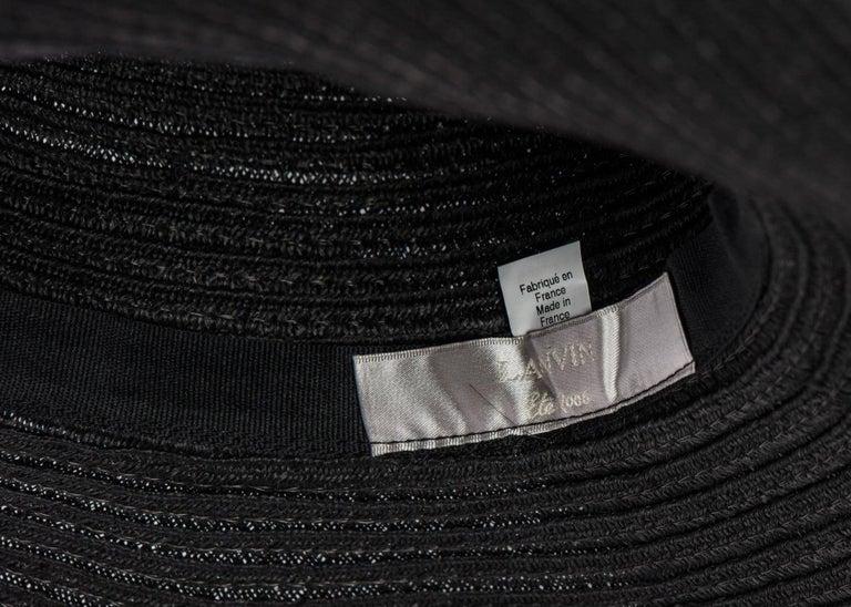 2006 Lanvin Alber Elbaz Black Sun Hat Navy Ribbon Band For Sale 5