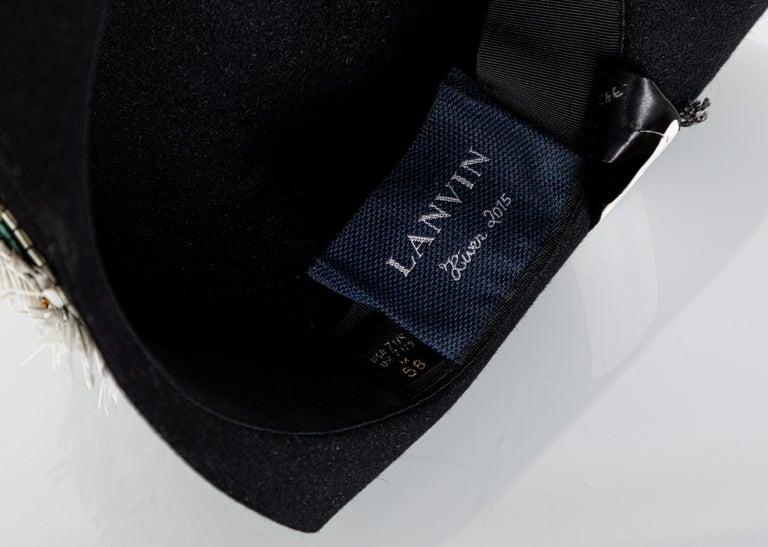 Lanvin Alber Elbaz Embellished Black Felt Hat, 2015 For Sale 7