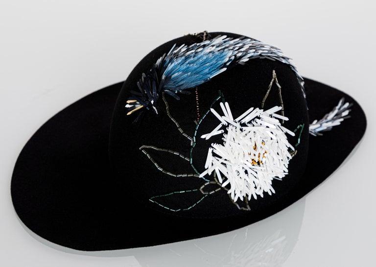 Lanvin Alber Elbaz Embellished Black Felt Hat, 2015 In Excellent Condition For Sale In Boca Raton, FL