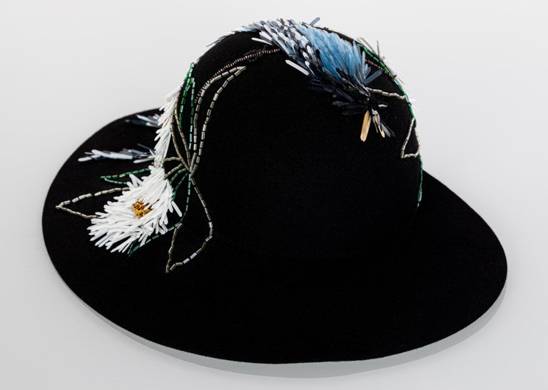Women's Lanvin Alber Elbaz Embellished Black Felt Hat, 2015 For Sale