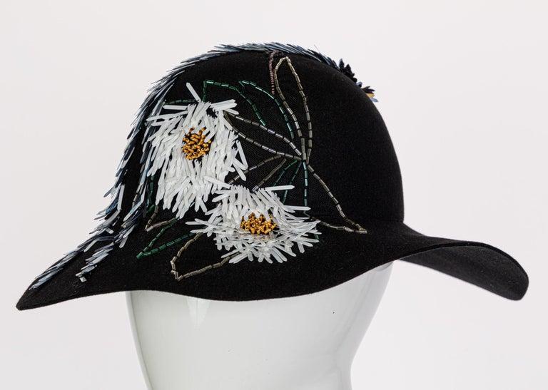 Lanvin Alber Elbaz Embellished Black Felt Hat, 2015 For Sale 1