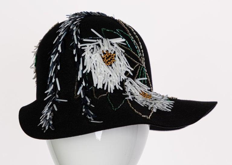Lanvin Alber Elbaz Embellished Black Felt Hat, 2015 For Sale 2