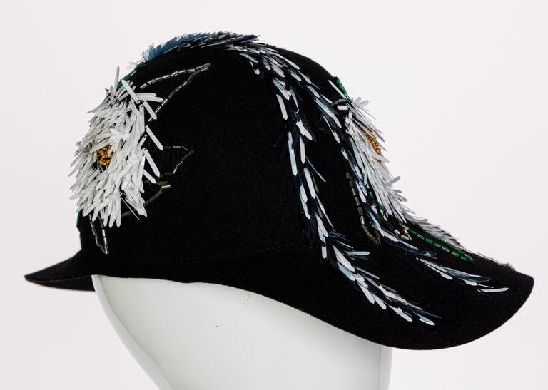 Lanvin Alber Elbaz Embellished Black Felt Hat, 2015 For Sale 3