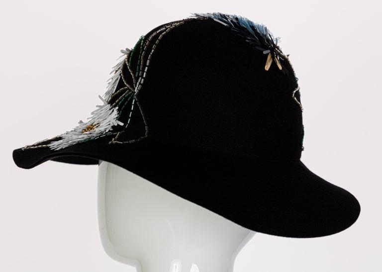 Lanvin Alber Elbaz Embellished Black Felt Hat, 2015 For Sale 4