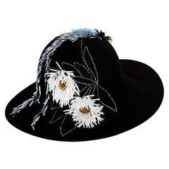 Lanvin Alber Elbaz Embellished Black Felt Hat, 2015