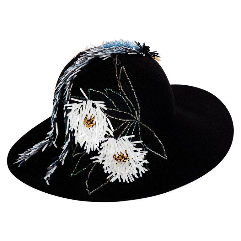 Lanvin Alber Elbaz Embellished Black Felt Hat, 2015 For Sale