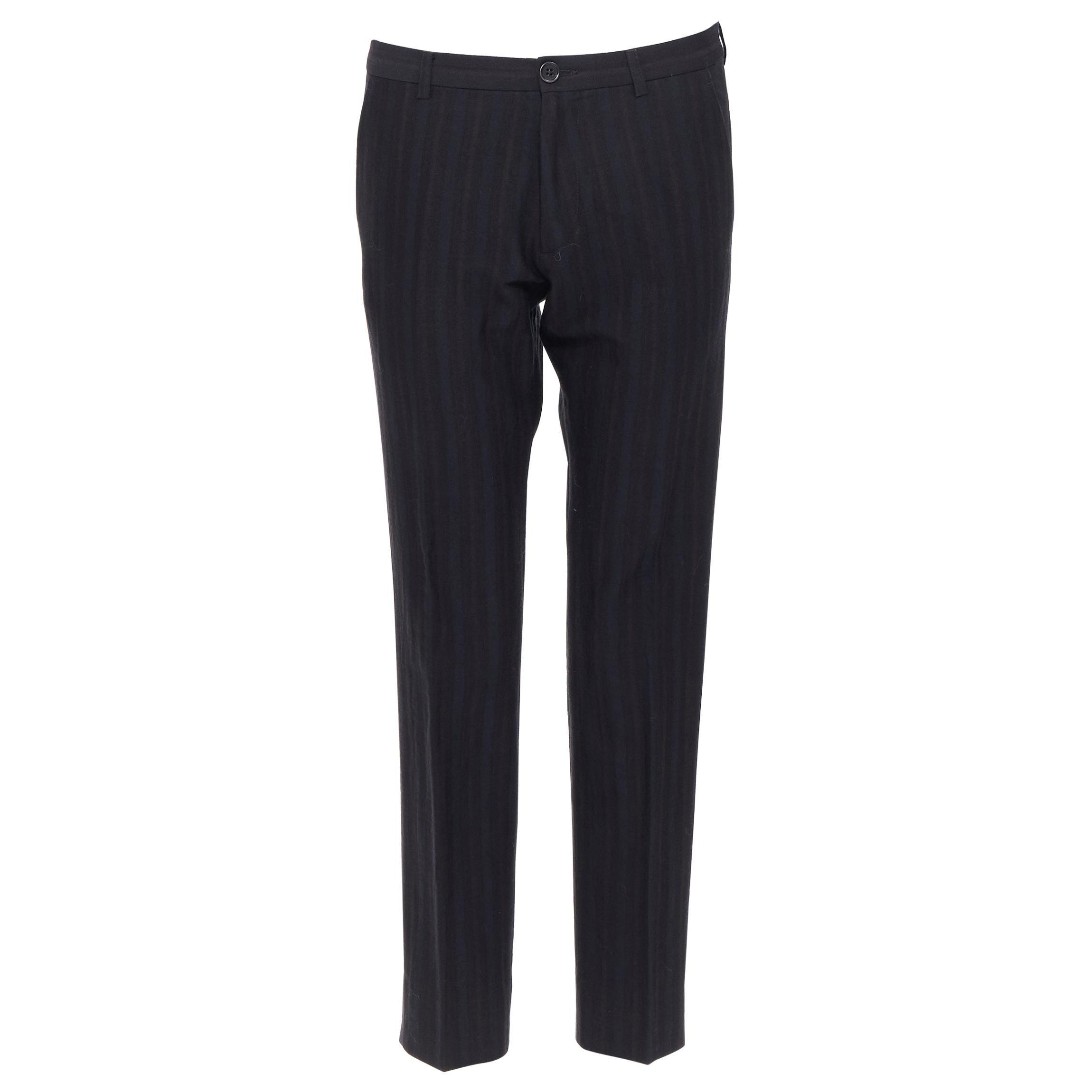 LANVIN ALBER ELBAZ mohair wool black satin side trimmed tuxedo trousers FR44