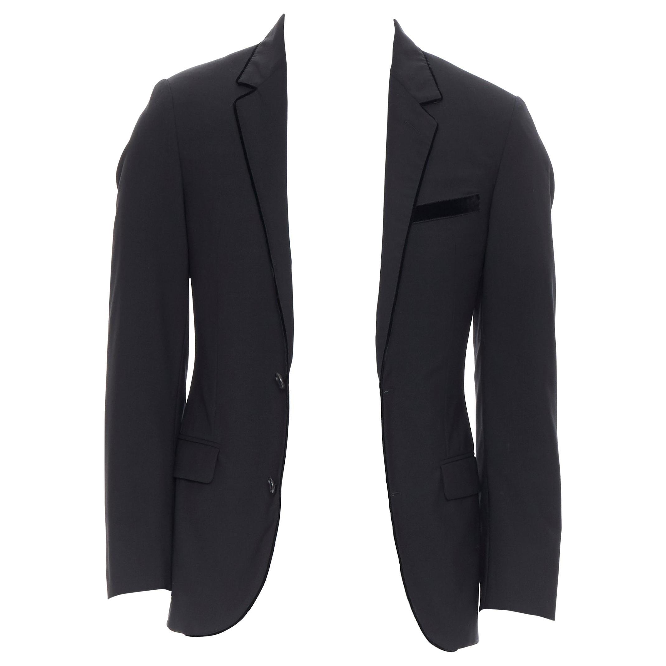 LANVIN ALBER ELBAZ wool blend black velvet peak lapel formal blazer jacket FR44