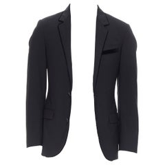 LANVIN ALBER ELBAZ wool blend black velvet peak lapel formal blazer jacket FR44