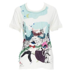 LANVIN Around The World illustration print crystal pearl embellished tshirt XS