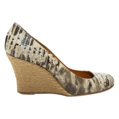Lanvin Beige & Black Embossed Espadrille Wedges