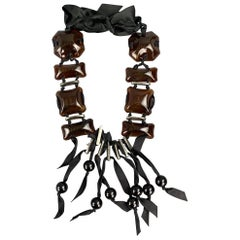 LANVIN Black & Brown Glass Metal Ribbon Tie Up Necklace