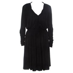 Lanvin Black Cashmere Blend Gathered Detail Long Sleeve Dress M