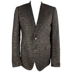 LANVIN Black & Copper Heather Textured Notch Lapel Sport Coat