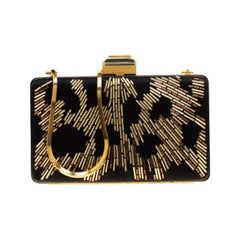 Lanvin Black/Gold Embellished Satin Chain Clutch