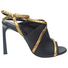Lanvin Black & Gold Heeled Ankle Strap Sandals