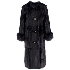 Lanvin Black Lambs Fur Long Coat With Fox Fur Trim FR 38
