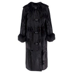 Lanvin Black Lambs Fur Long Coat With Fox Fur Trim - Size US 6