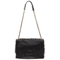 Lanvin Black Leather Flap Shoulder Bag