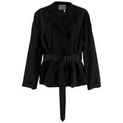 Lanvin Black Linen Blend Belted Jacket - Size US 10