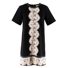 Lanvin Black Mini Dress With Lace and Stud Detailing S 38