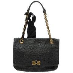 Lanvin Black Ostrich Leather Shoulder Bag