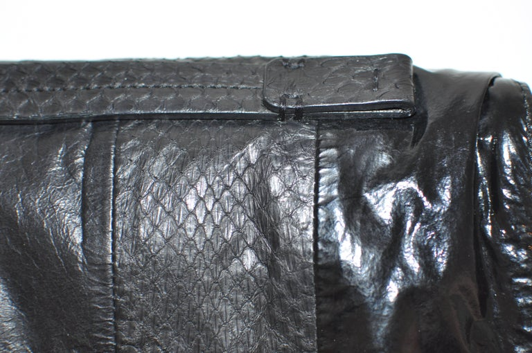 Lanvin Black Patent Leather and Reptile Foldover Flap Clutch with Dust Bag 41402 In New Condition For Sale In Port Hope, ON