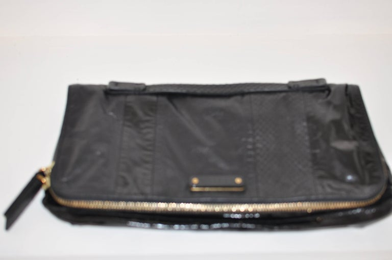 Lanvin Black Patent Leather and Reptile Foldover Flap Clutch with Dust Bag 41402 For Sale 2