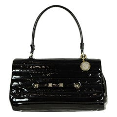 Lanvin Black Patent Leather Quilted Top Handle Bag