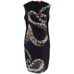 Lanvin Black Python Print Silk Shift Dress - Size US 8