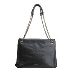 Lanvin Black Quilted Gold Link Chain Shoulder Bag