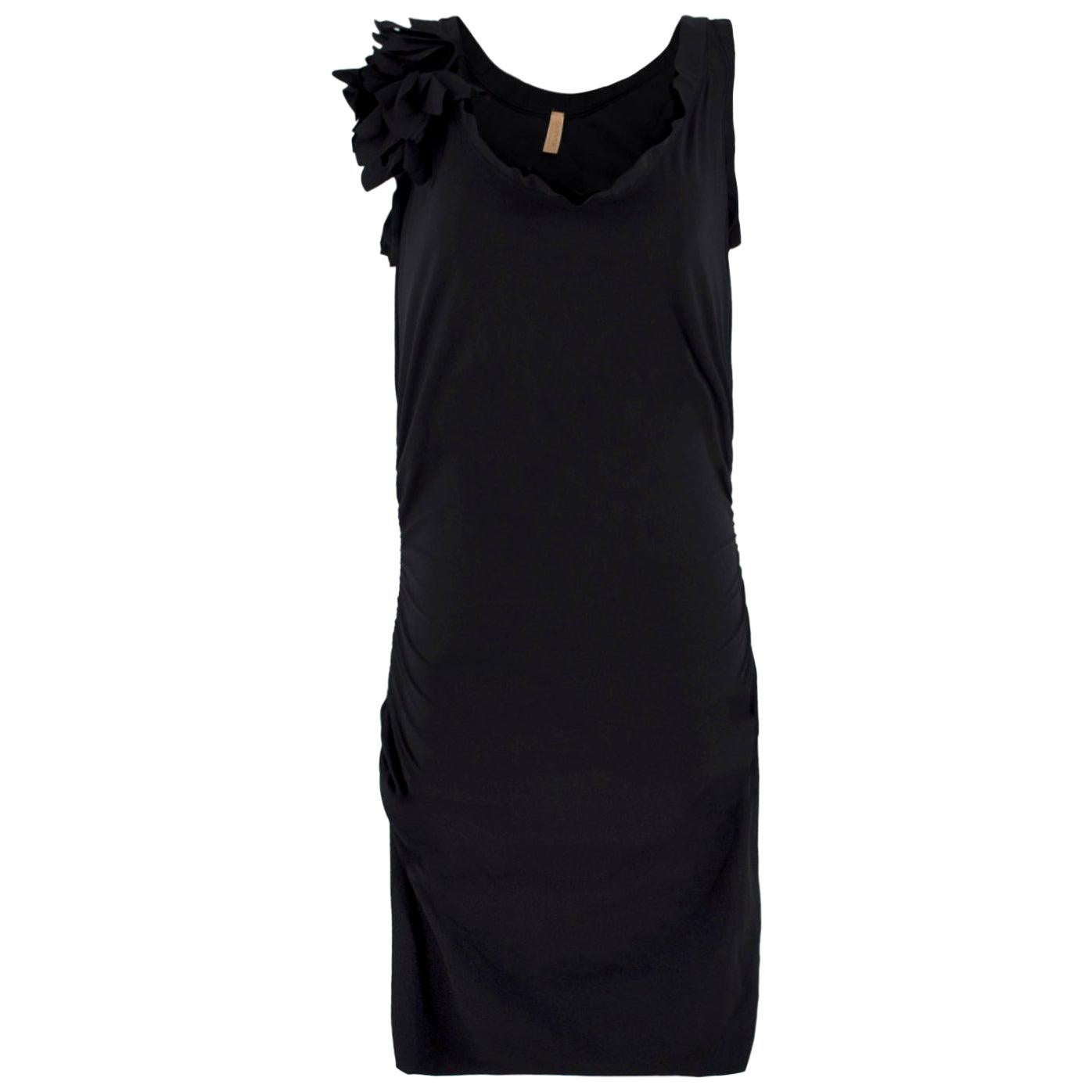 Lanvin Black Ruched Dress - Size Estimated M
