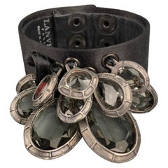 LANVIN Black Satin Glass Pendant Snap Button Bracelet